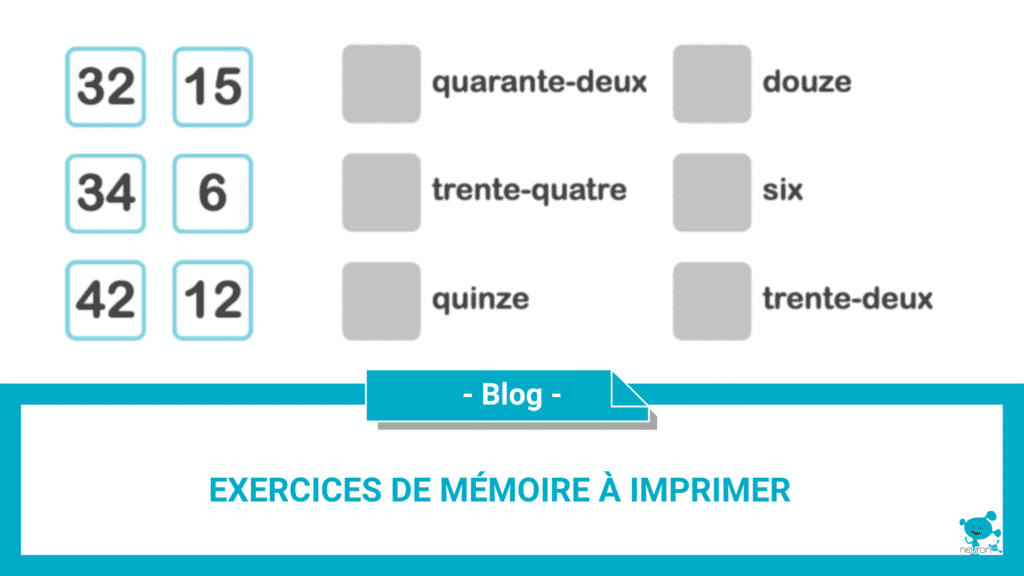 exercices de mémoire à imprimer